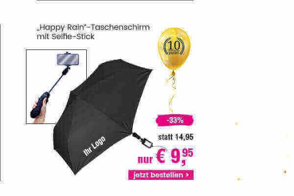 Happy Rain Taschenschirm mit Selfie Stick