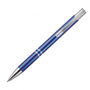 Farbe blau 10 Kugelschreiber aus Metall mit Gravur