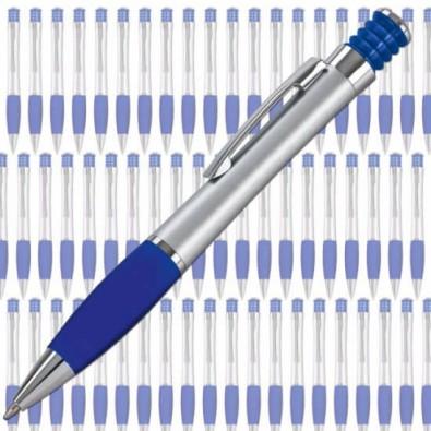 Werbe-Set: 500 LANCE Druckkugelschreiber Nevada, Silber/Blau