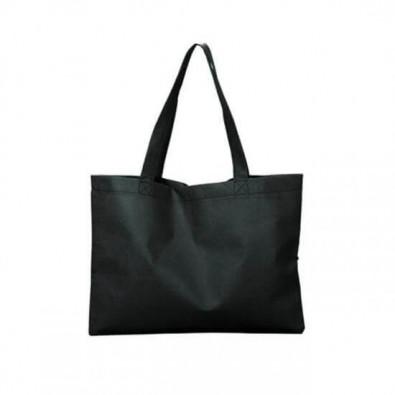 Maxi-Vliestasche Textile mit langen Henkeln Schwarz