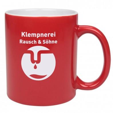 Keramikbecher Carina, Rot/Weiß