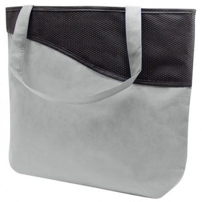 Einkaufstasche XL mit Reißverschluss Knobs Grau/Schwarz