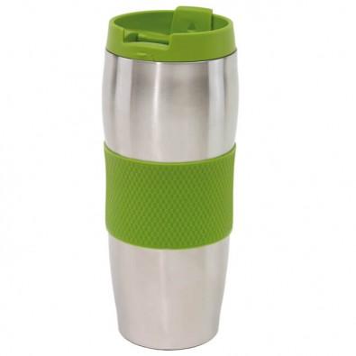 Edelstahl-Isolierbecher Kaffeepause, Silber/Apfelgrün