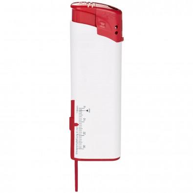 Piezo-Feuerzeug mit Reifenprofilmesser, Weiß/Rot