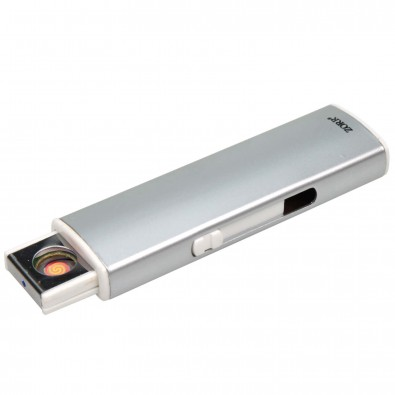 Metall-Zigarettenanzünder mit USB-Ladefunktion, Silber
