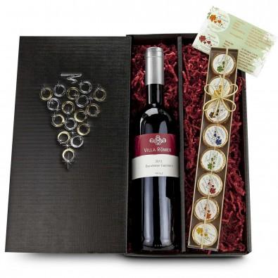 Rotwein und Schokotaler-Set