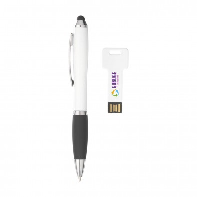 Geschenkset Touch-Kugelschreiber  USB-Stick, Weiß