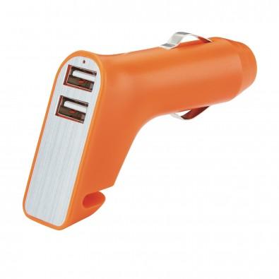 Dual USB Ladegerät, orange,silber