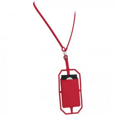 Silikon RFID Kartenhalter mit Lanyard, rot