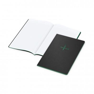 Tablet-Book A4, Farbschnitt und Prägung in Grün