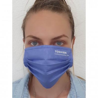 Gesichtsmaske für Mund-Nasenabdeckung, Textil blau, einlagig, inkl. Druck