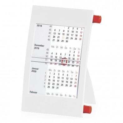 2-Jahres-Tischkalender 2020/2021, Weiß/Rot