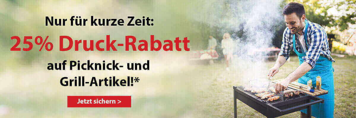 NL-Aktion 25% Rabatt auf Druck- &Drucknebenkosten Outdoor & Picknick